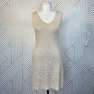 St. John Evening Cream Gold Shimmer Knit Dress